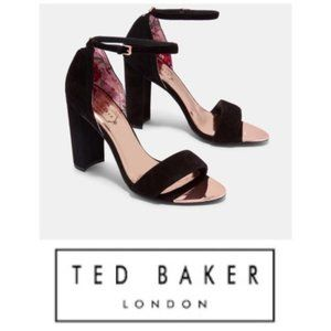 Ted Baker Black Suede Block Heel Sandals Sz 10 NIB